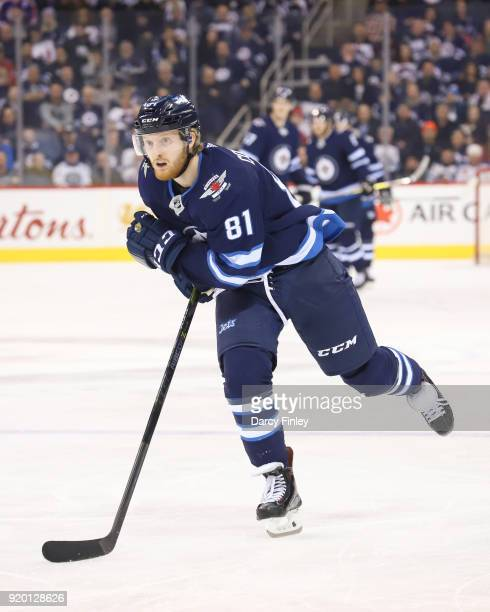 Kyle Connor of the Winnipeg Jets follows the play down the ice during second period action against the Washington Capitals at the Bell MTS Place on...