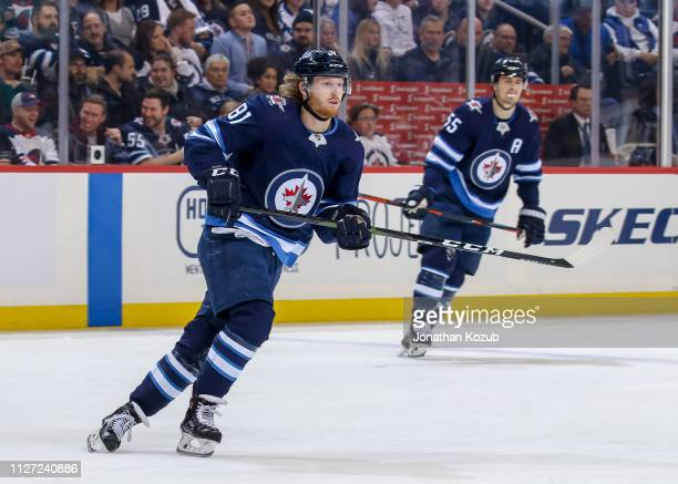 Kyle Connor of the Winnipeg Jets follows the play up the ice during second period action against the Columbus Blue Jackets at the Bell MTS Place on...