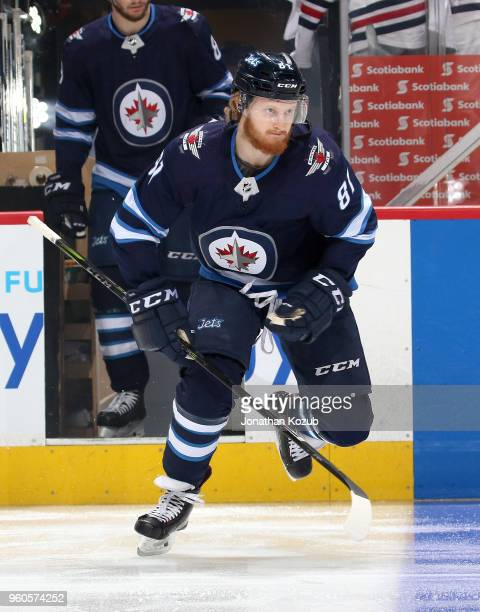 Kyle Connor of the Winnipeg Jets hits the ice prior to puck drop against the Vegas Golden Knights in Game Five of the Western Conference Final during...
