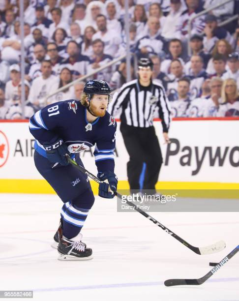 Kyle Connor of the Winnipeg Jets plays the puck down the ice during first period action against the Nashville Predators in Game Four of the Western...