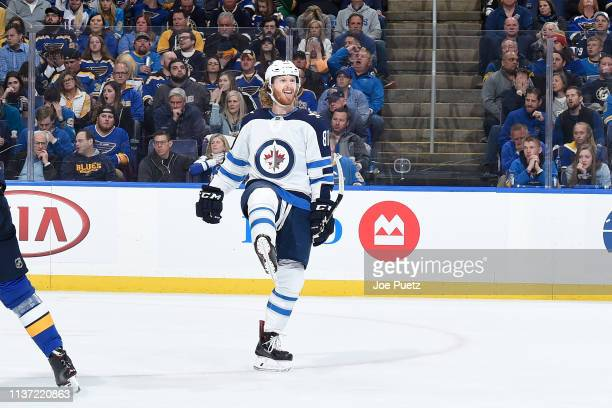 Kyle Connor of the Winnipeg Jets reacts after scoring a goal against the St Louis Blues in Game Three of the Western Conference First Round during...