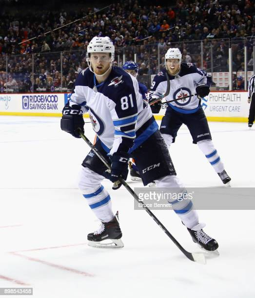 Kyle Connor of the Winnipeg Jets skates against the New York Islanders at the Barclays Center on December 23 2017 in the Brooklyn borough of New York...