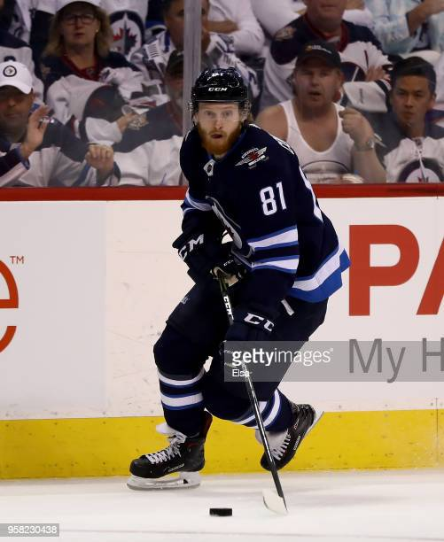 Kyle Connor of the Winnipeg Jets takes the puck in the second period against the Vegas Golden Knights in Game One of the Western Conference Finals...
