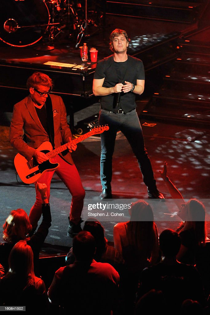 Kyle Cook and Rob Thomas of Matchbox Twenty performs at the Louisville Palace on February 5, 2013 in Louisville, Kentucky.