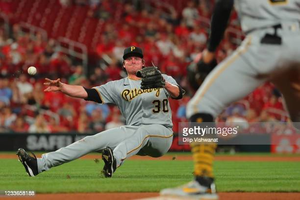 Kyle Crick. Of the Pittsburgh Pirates throws the ball to first base for an out against the St. Louis Cardinals in the eighth inning at Busch Stadium...