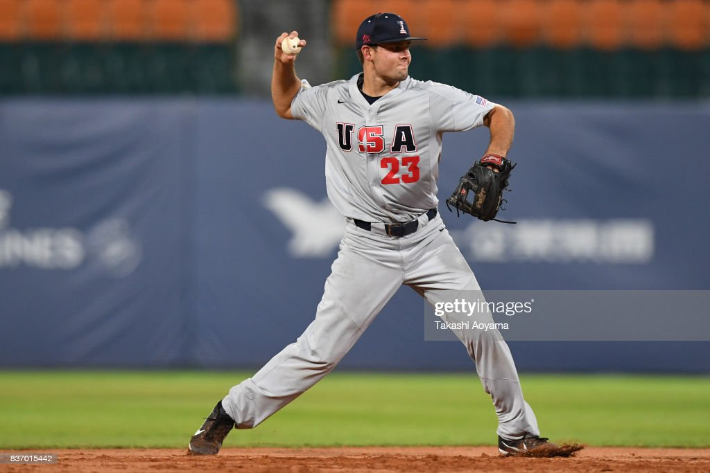 Kyle Crowl #23 of United States in action during the Baseball Group B match between United States and Russia during day three of the 29th Summer Universiade Taipei at the Xinzhuang Baseball Stadium on August 22, 2017 in Taipei, Taiwan.