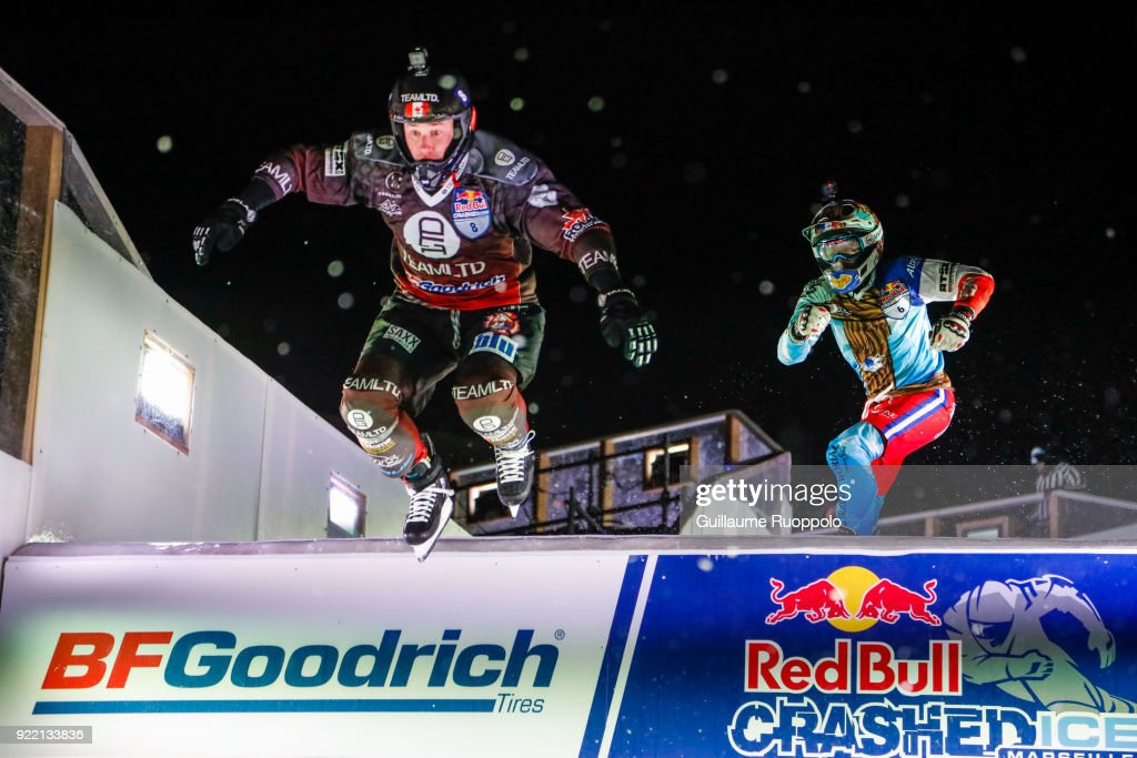 Kyle Croxall during the Red Bull Crashed Ice Marseille 2018 on February 17, 2018 in Marseille, France.