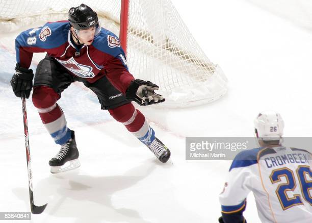 Kyle Cumiskey of the Colorado Avalanche catches the puck in his hand against the St. Louis Blues at the Pepsi Center on November 26, 2008 in Denver,...