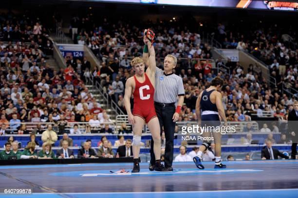 Kyle Dake of Cornell University celebrates his victory over Frank Molinaro of Penn State University during the Division I Men's Wrestling...