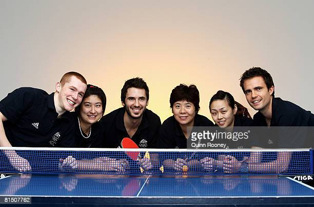 Kyle Davis, Stephanie Sang, David Zalcberg, Jian Fang Lay, Miao Miao and William Henzell of Australia poses as the AOC announce the table tennis team...