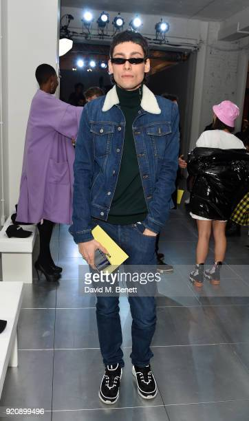 Kyle De Volle attends the Nicopanda show during London Fashion Week February 2018 at TopShop Show Space on February 19, 2018 in London, England.