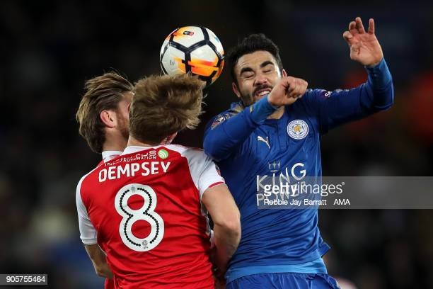 Kyle Dempsey of Fleetwood Town and Vincente Iborra of Leicester City during The Emirates FA Cup Third Round Replay match between Leicester City and...