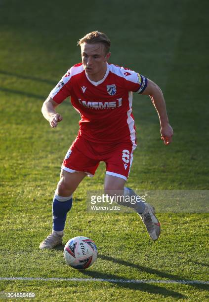 Kyle Dempsey of Gillingham FC run s with the ball during the Sky Bet League One match between Portsmouth and Gillingham at Fratton Park on February...