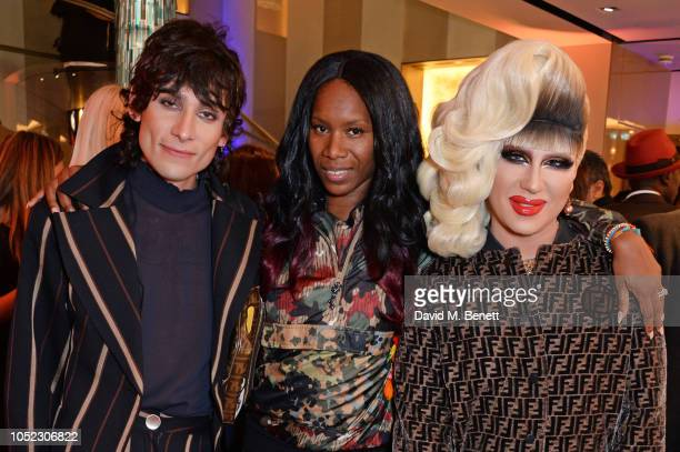 Kyle De'Volle Aicha McKenzie and Jodie Harsh attend the FENDI MANIA Collection Launch on October 16 2018 in London England