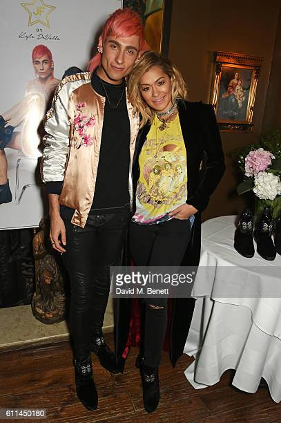 Kyle De'Volle and Rita Ora attend the JF London x Kyle De'Volle VIP dinner at Beach Blanket Babylon on September 29 2016 in London England