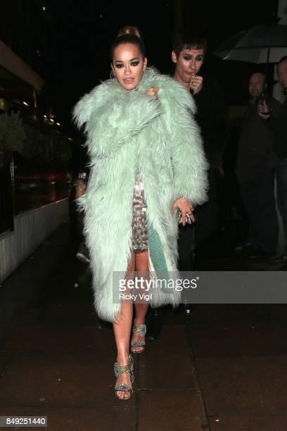 Kyle De'Volle and Rita Ora seen at Miu Miu X LOVE Magazine party at No 5 Hertford Street during London Fashion Week September 2017 on September 18...