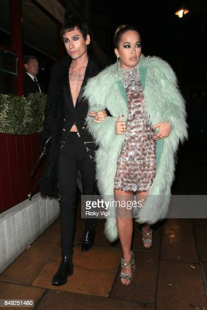 Kyle De'Volle and Rita Ora seen at Miu Miu X LOVE Magazine party at No 5 Hertford Street during London Fashion Week September 2017 on September 18...