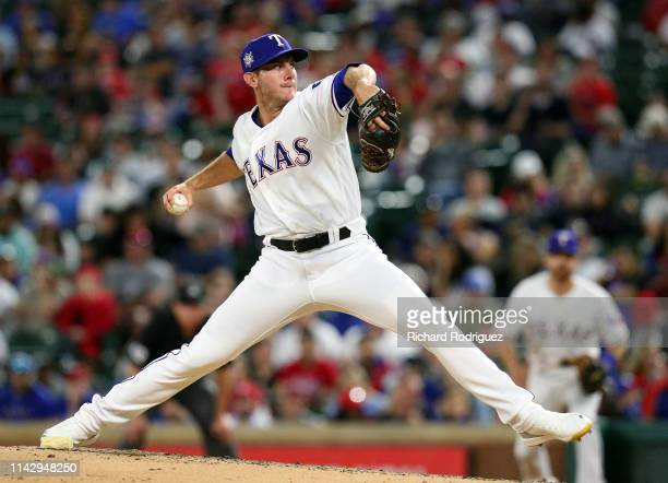 Kyle Dowdy of the Texas Rangers pitches in the fifth inning against the Los Angeles Angels at Globe Life Park in Arlington on April 15 2019 in...