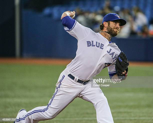 Kyle Drabek of the Toronto Blue J came in to pitch the 7th inning during the game between the Toronto Blue Jays and the Tampa Bay Rays Rogers Centre...