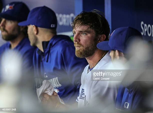 TORONTO ON AUGUST 22 Kyle Drabek of the Toronto Blue Jays in the dugout after pitching the 7th inning during the game between the Toronto Blue Jays...