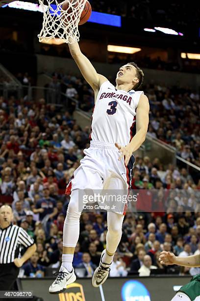 Kyle Dranginis of the Gonzaga Bulldogs dunks the ball in the second half of the game against the North Dakota State Bison during the second round of...
