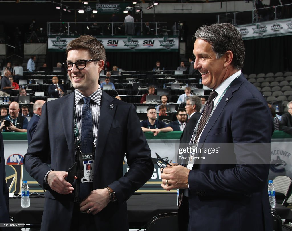 Kyle Dubas and Brendan Shanahan of the Toronto Maple Leafs chat prior to the first round of the 2018 NHL Draft at American Airlines Center on June 22, 2018 in Dallas, Texas.