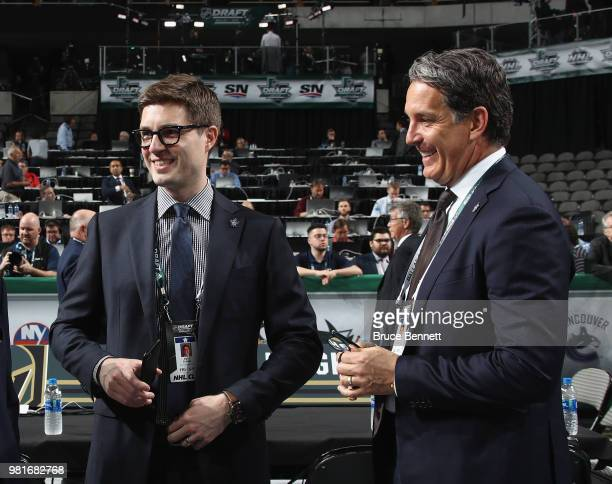 Kyle Dubas and Brendan Shanahan of the Toronto Maple Leafs chat prior to the first round of the 2018 NHL Draft at American Airlines Center on June 22...