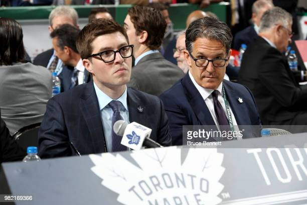 Kyle Dubas and Brendan Shanahan of the Toronto Maple Leafs handle the draft table during the 2018 NHL Draft at American Airlines Center on June 23,...