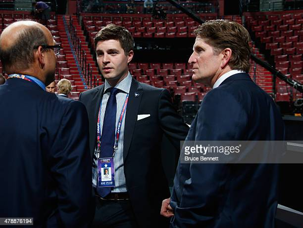 Kyle Dubas and Mike Babcock of the Toronto Maple Leafs attend the 2015 NHL Draft at BB&T Center on June 26, 2015 in Sunrise, Florida.
