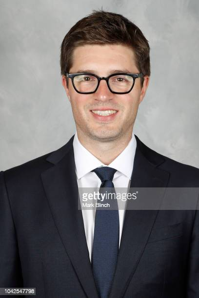 Kyle Dubas General Manager of the Toronto Maple Leafs poses for his official headshot for the 2018-2019 season on September 13, 2018 at Mastercard...
