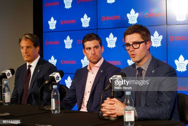 Kyle Dubas, General Manager of the Toronto Maple Leafs speaks at a press conference about signing free agent, John Tavares of the Toronto Maple...