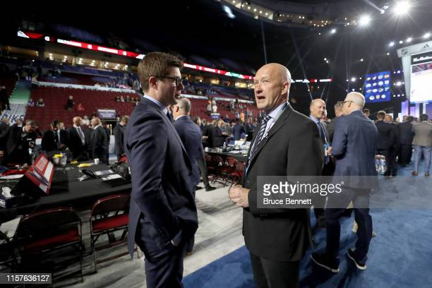 Kyle Dubas of the Toronto Maple Leafs and Jarmo Kekalainen of the Columbus Blue Jackets attend the 2019 NHL Draft at Rogers Arena on June 22, 2019 in...