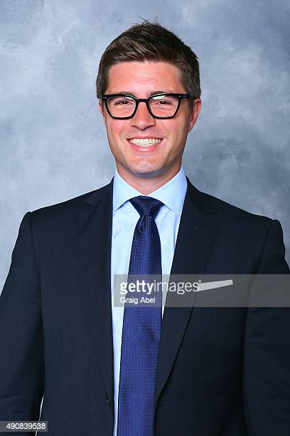 Kyle Dubas of the Toronto Maple Leafs poses for his official headshot for the 2015-16 season on September 17, 2015 at the Mastercard in Toronto,...