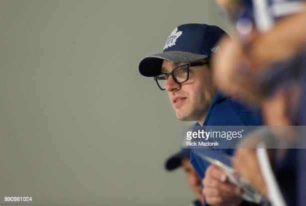 Kyle Dubas watches the young guys go through a 25 minute scrimmage. Toronto Maple Leafs hold a scrimmage for recently drafted players at the...