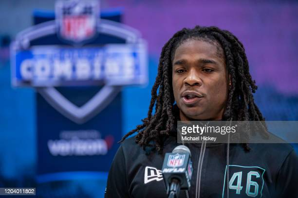 Kyle Dugger #DB46 of the LenoirRhyne Bears speaks to the media on day four of the NFL Combine at Lucas Oil Stadium on February 28 2020 in...