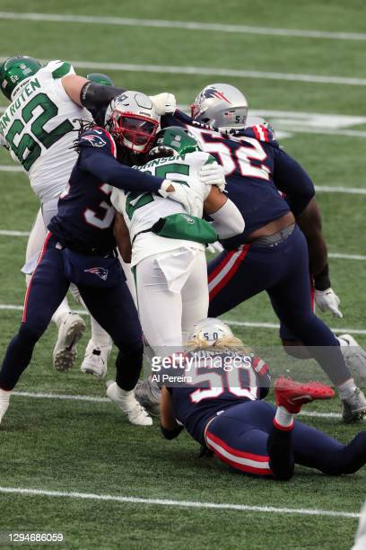 Kyle Dugger of the New England Patriots makes a stop against the New York Jets at Gillette Stadium on January 3, 2021 in Foxborough, Massachusetts.