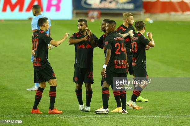 Kyle Duncan of New York Red Bulls celebrates his second half goal in the 59th minute against the New York City at Red Bull Arena on August 20, 2020...
