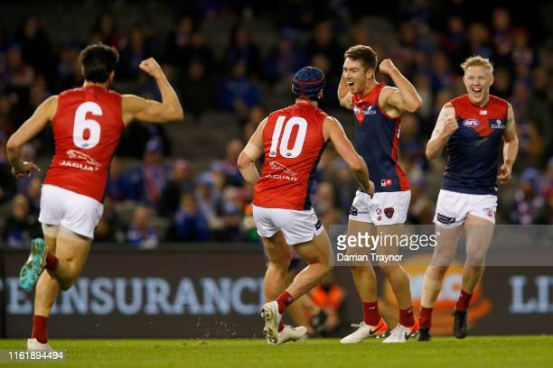 Kyle Dunkley of the Demons celebrates a goal during the round 17 AFL match between the Western Bulldogs and Melbourne Demons at Marvel Stadium on...