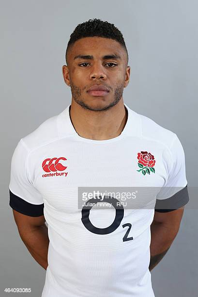 Kyle Eastmond of England poses for a portrait during the England Six Nations Squad Photo Call at the Penny Hill Hotel on January 20 2014 in Bagshot...