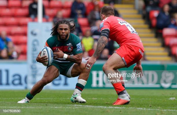 Kyle Eastmond of Leicester Tigers during the Gallagher Premiership Rugby match between Leicester Tigers and Sale Sharks at Welford Road Stadium on...
