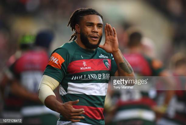 Kyle Eastmond of Leicester Tigers during the Gallagher Premiership Rugby match between Leicester Tigers and Saracens at Welford Road Stadium on...