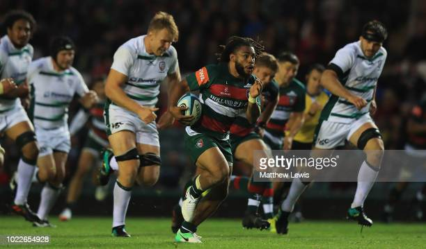 Kyle Eastmond of Leicester Tigers makes a break during a friendly match between Leicester Tigers and London Irish at Welford Road on August 24 2018...