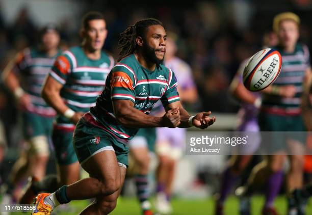 Kyle Eastmond of Leicester Tigers passes the ball during the Premiership Rugby Cup Second Round match between Leicester Tigers and Exeter Chiefs at...