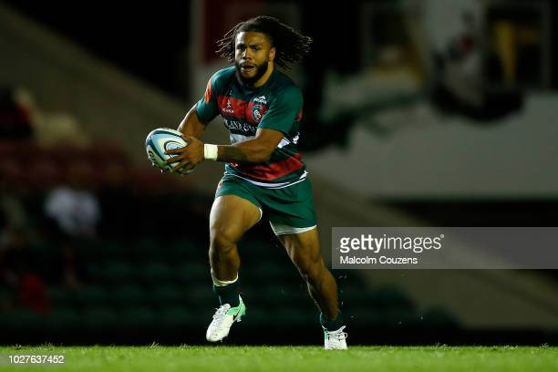 Kyle Eastmond of Leicester Tigers runs with the ball during a friendly match with London Irish at Welford Road on August 24 2018 in Leicester England