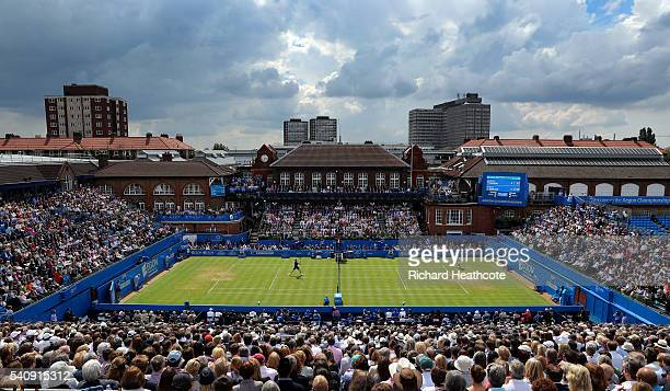 Kyle Edmund and Andy Murray contest the first quarter final between two British players in the open era during day five of The Aegon Championships at...