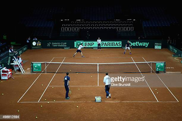 Kyle Edmund and Andy Murray of Great Britain during a practice session ahead of the start of the Davis Cup Final at Flanders Expo on November 26 2015...