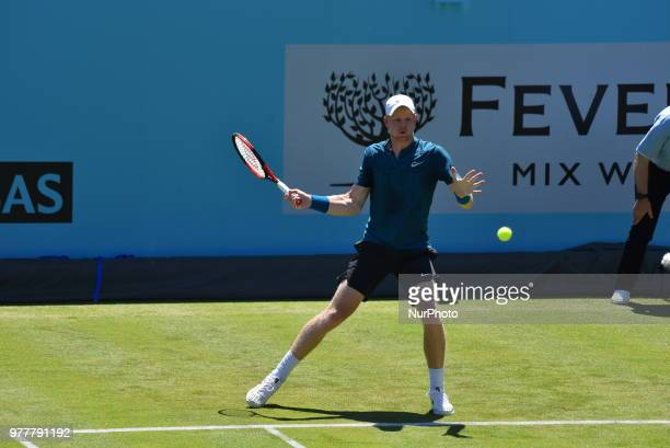 Kyle Edmund and Neal Skupski play against Grigor Dimitrov and Ryan Harrison in the first match of doubles on day one of Fever Tree Championships at...