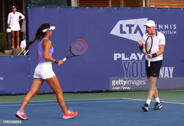 Kyle Edmund and partner Emma Raducanu of British Bulldogs plays a forehand in their mixed doubles match against Andy Murray and Naomi Broady of Union...