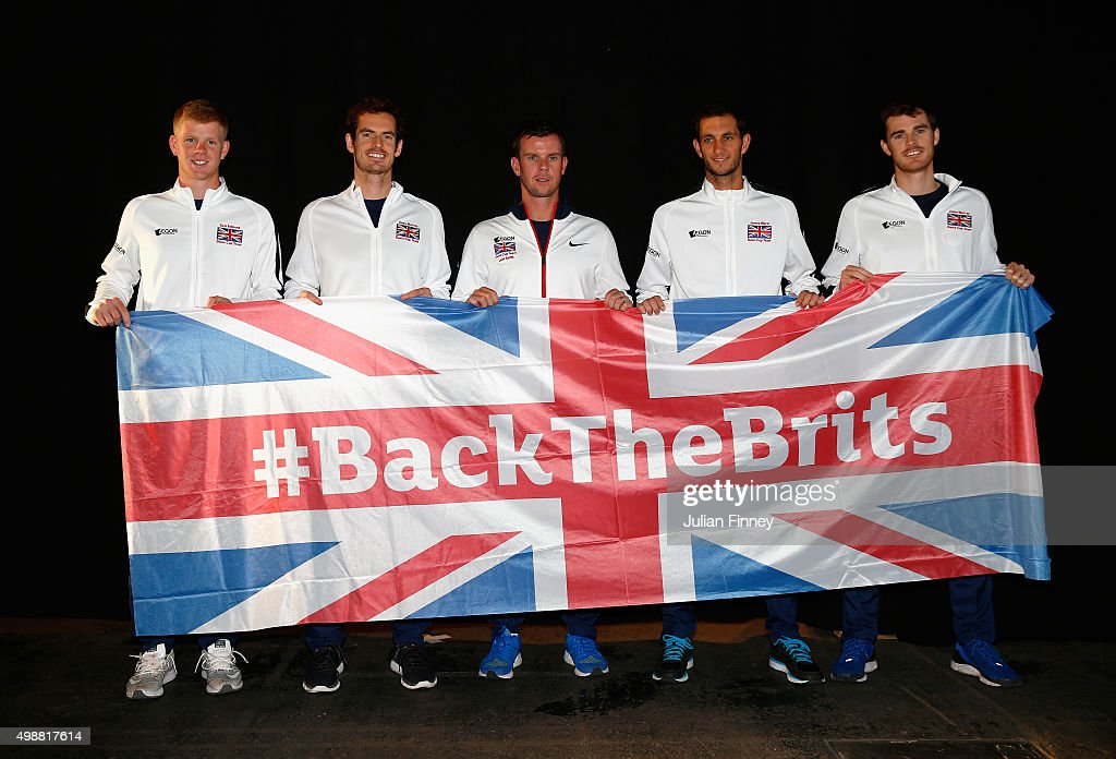 Kyle Edmund, Andy Murray, Leon Smith, James Ward and Jamie Murray of Great Britain pose for a photo ahead of the start of the Davis Cup Final at Flanders Expo on November 26, 2015 in Ghent, Belgium.