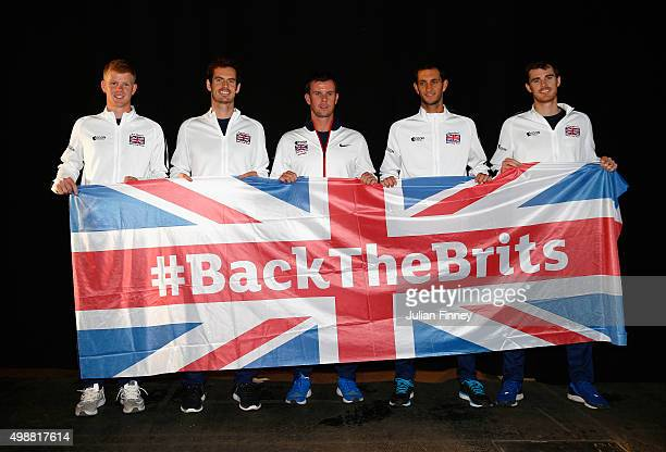 Kyle Edmund, Andy Murray, Leon Smith, James Ward and Jamie Murray of Great Britain pose for a photo ahead of the start of the Davis Cup Final at...
